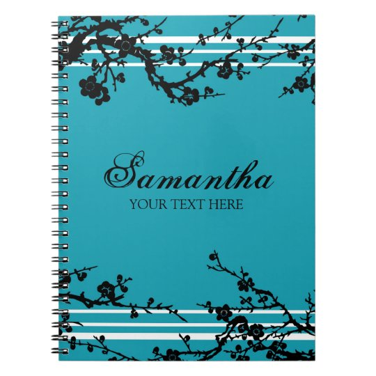 Custom Name Black and Turquoise Floral Notebook
