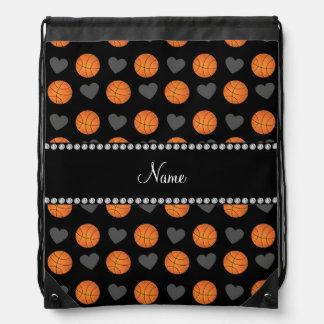 Custom name black basketballs and hearts drawstring bag