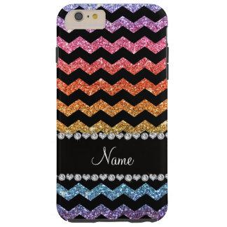 Custom name black bright rainbow glitter chevrons tough iPhone 6 plus case