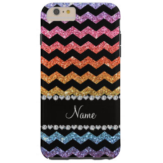 Custom name black bright rainbow glitter chevrons tough iPhone 6 plus case