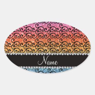 Custom name black bright rainbow glitter swirls oval stickers