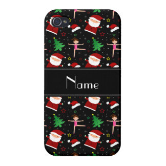 Custom name black christmas gymnastics santas iPhone 4/4S covers