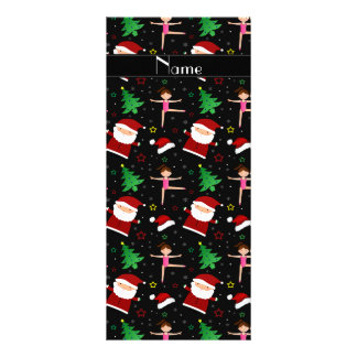 Custom name black christmas gymnastics santas rack cards