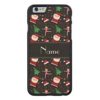 Custom name black christmas gymnastics santas carved® maple iPhone 6 slim case