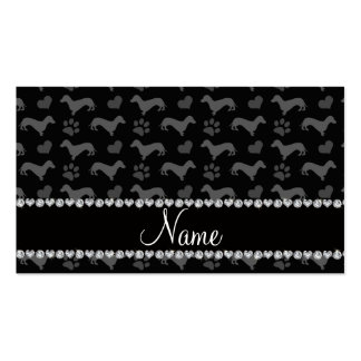 Custom name black dachshunds hearts paws business cards