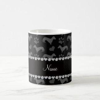 Custom name black dachshunds hearts paws mugs