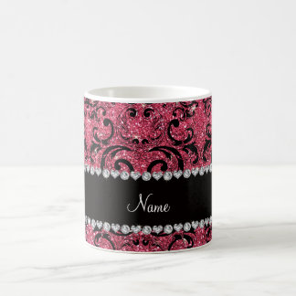 Custom name black fuchsia pink glitter damask coffee mug