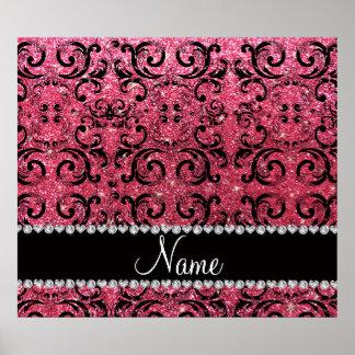 Custom name black fuchsia pink glitter damask posters