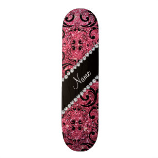 Custom name black fuchsia pink glitter damask skateboard