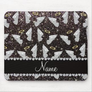 Custom name black glitter angel wings mouse mat