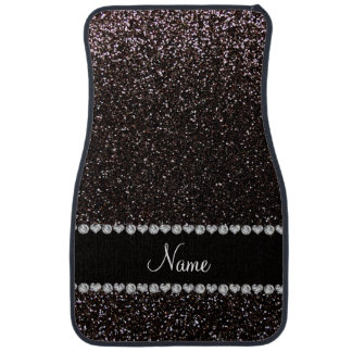 Custom name black glitter black stripe car mat