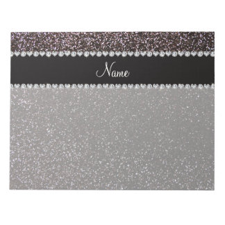 Custom name black glitter black stripe notepad