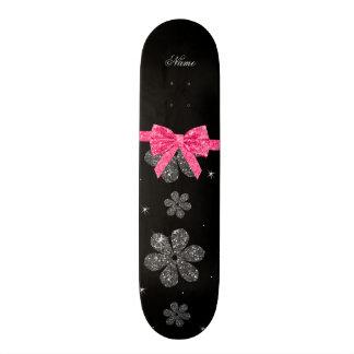 Custom name black glitter flowers pink bow 20.6 cm skateboard deck