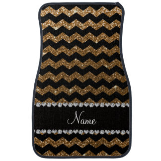 Custom name black gold glitter chevrons car mat