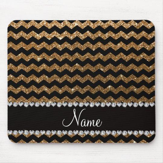 Custom name black gold glitter chevrons mouse mat