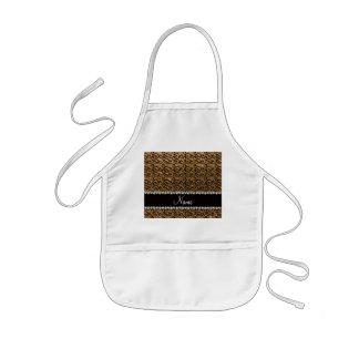 Custom name black gold glitter swirls apron