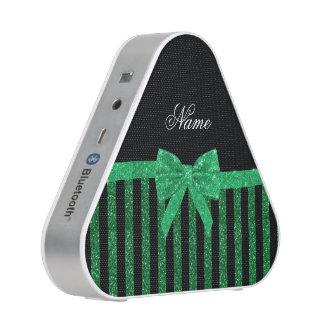 Custom name black green glitter stripes bow