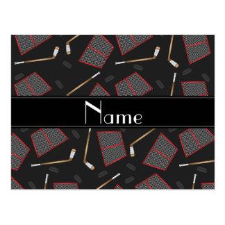 Custom name black hockey sticks pucks nets postcard