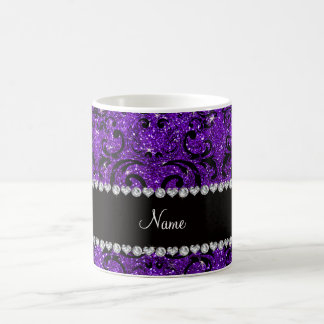 Custom name black indigo purple glitter damask mug