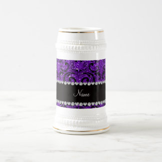 Custom name black indigo purple glitter damask mugs