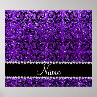 Custom name black indigo purple glitter damask poster