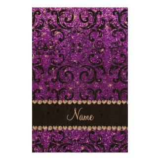Custom name black indigo purple glitter damask photo cork paper