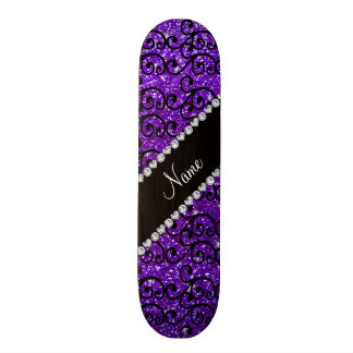 Custom name black indigo purple glitter swirls skate deck