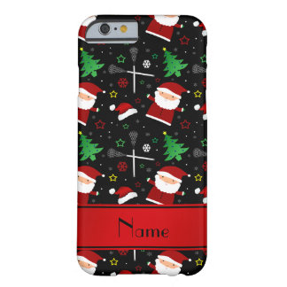 Custom name black lacrosse christmas pattern barely there iPhone 6 case