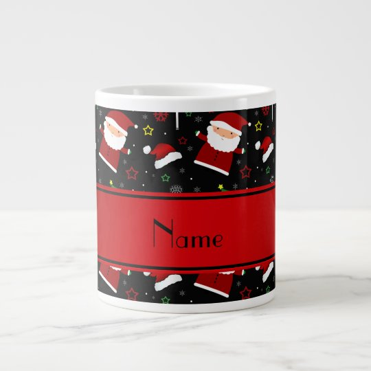 Custom name black lacrosse christmas pattern large coffee