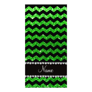 Custom name black lime green glitter chevrons photo cards