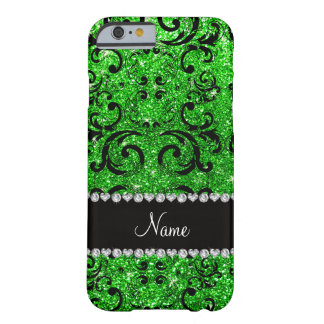 Custom name black lime green glitter damask barely there iPhone 6 case