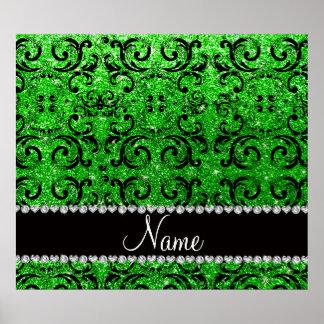Custom name black lime green glitter damask posters