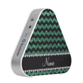 Custom name black mint green glitter chevrons