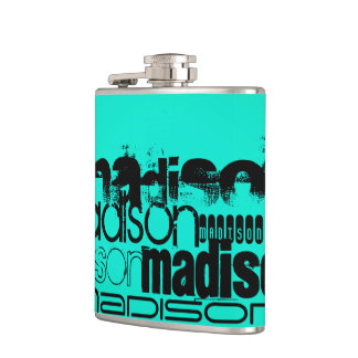 Custom Name; Black &  Neon Aqua Turquoise Hip Flask