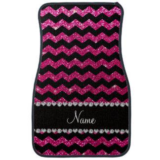 Custom name black neon hot pink glitter chevrons car mat