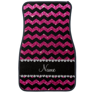 Custom name black neon hot pink glitter chevrons floor mat