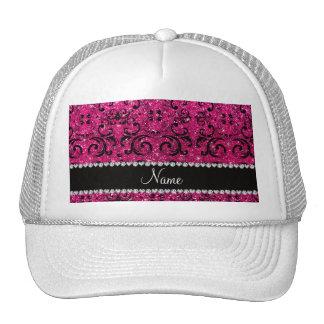 Custom name black neon hot pink glitter damask hats