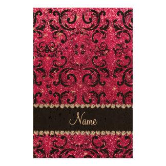Custom name black neon hot pink glitter damask photo cork paper