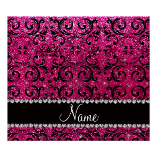 Custom name black neon hot pink glitter damask posters