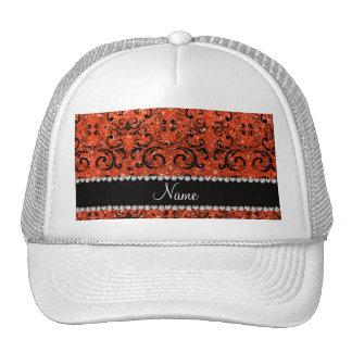 Custom name black neon orange glitter damask trucker hats
