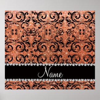 Custom name black pastel orange glitter damask print