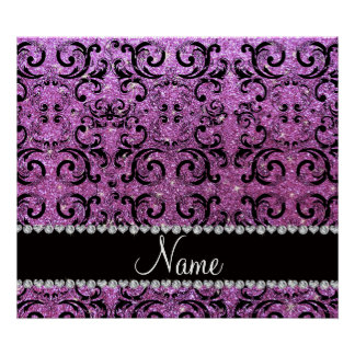 Custom name black pastel purple glitter damask poster