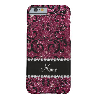 Custom name black plum purple glitter damask barely there iPhone 6 case