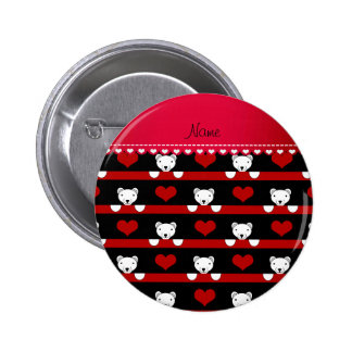 Custom name black polar bears red hearts stripes 6 cm round badge