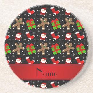 Custom name black santas gingerbread drink coasters