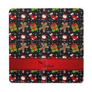 Custom name black santas gingerbread puzzle coaster