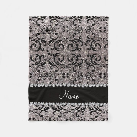 Custom name black silver glitter damask fleece blanket