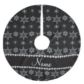 Custom name black silver snowflakes black stripe brushed polyester tree skirt