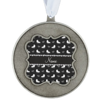 Custom name black skates and hearts scalloped pewter ornament