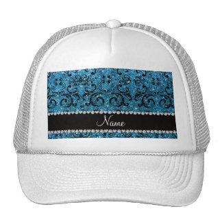 Custom name black sky blue glitter damask mesh hat
